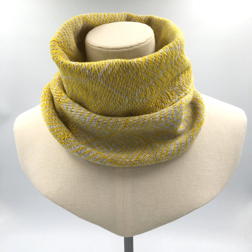 Yellow and white wool cowl, hand knitted by Olive Pearson