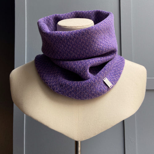 Olive Pearson merino lambswool cowl clematis heliotrope
