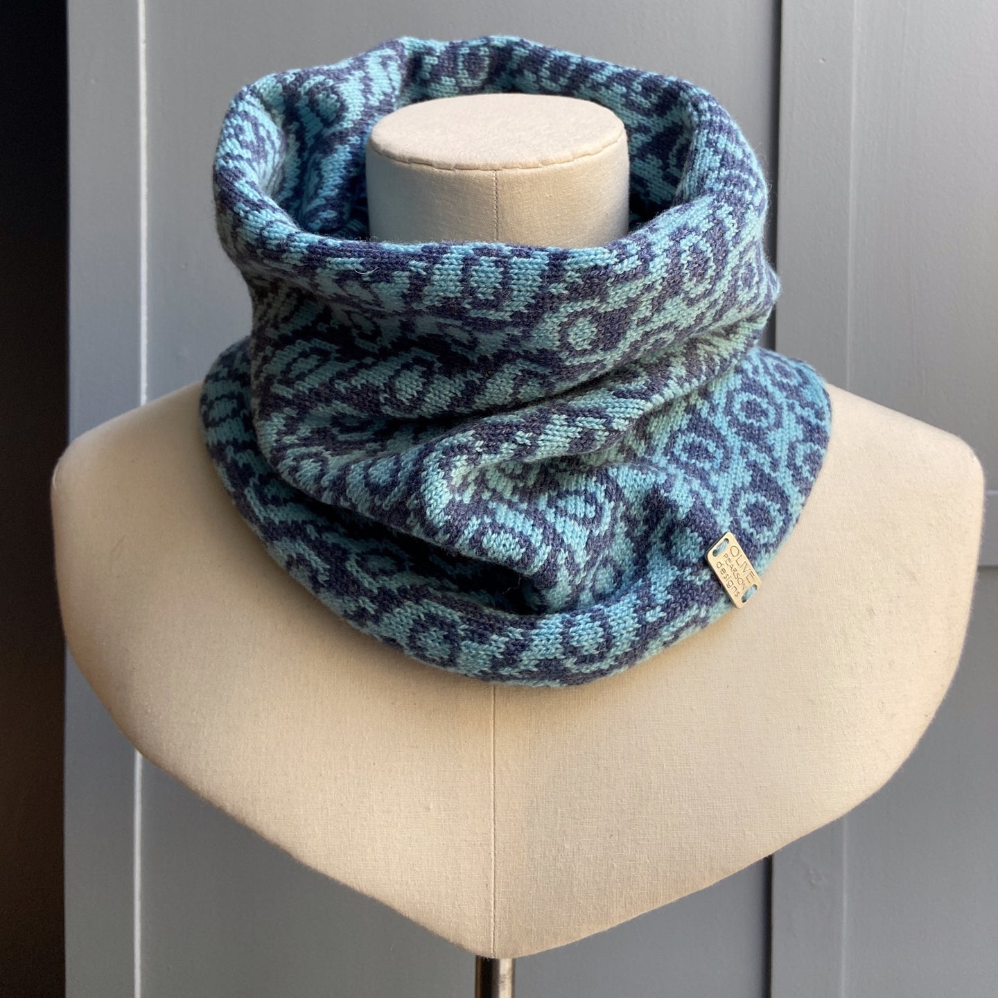 Falkirk Cowl in blue merino lambswool