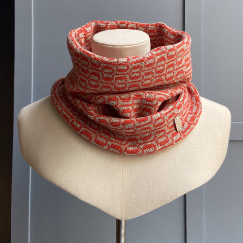 Orange and grey snood Olive Pearson design