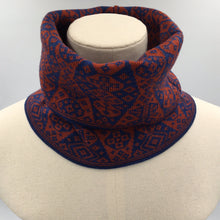 Load image into Gallery viewer, Luxury fair isle buff or cowl in red and blue