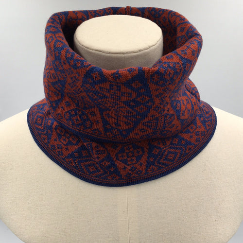 Luxury fair isle buff or cowl in red and blue