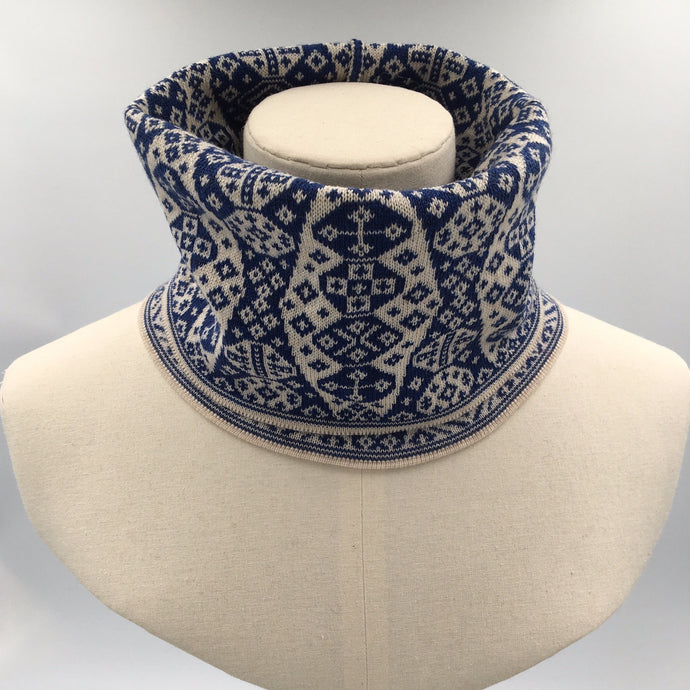 blue and white fair isle luxury cowl or buff