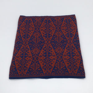Red and blue luxury fair isle neck cowl