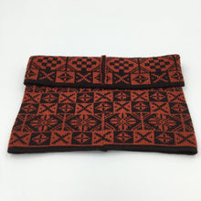 Load image into Gallery viewer, Luxury Fair Isle Cowl, black and red Saltire design, made by Bakka