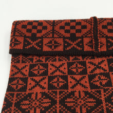 Load image into Gallery viewer, Close up Bakka cowl red and black Fair Isle