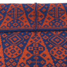 Load image into Gallery viewer, Perfect seams on luxury Fair Isle red and blue Bakka cowl