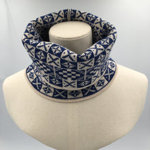 Load image into Gallery viewer, Fair Isle Cowl, Blue and White Saltire