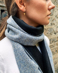 blue herringbone harris tweed scarf