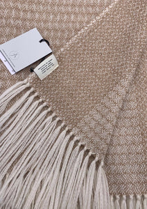 Luxury throw for the home, undyed British Alpaca, woven in Scotland.