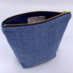 Make Up Bag, Harris Tweed, Blue Herringbone