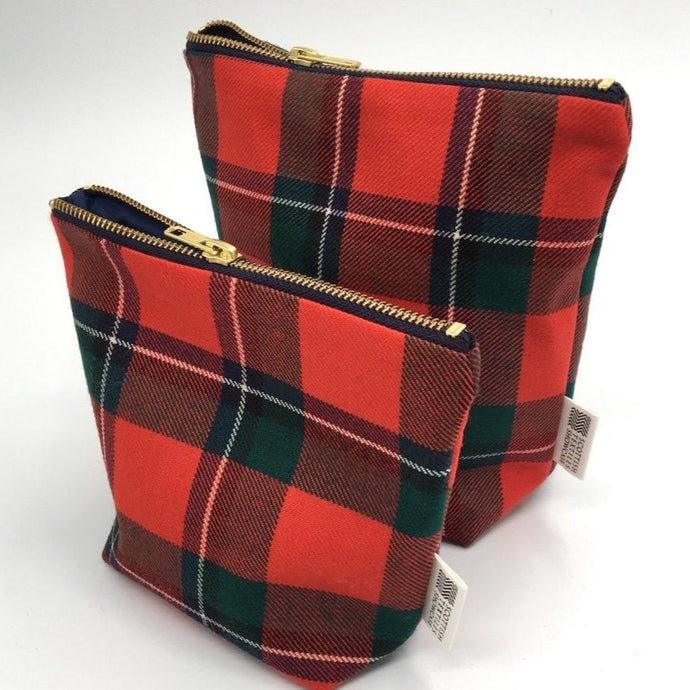 Sinclair red tartan make up bags
