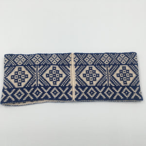 Headband, Fair Isle Blue and White, thick