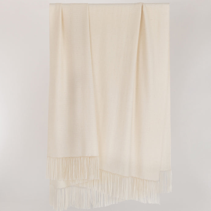 Pure white undyed alpaca designer throw