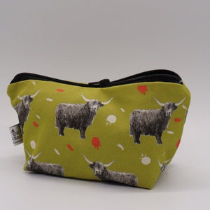 Highland Cow Make Up Bag, Citrus