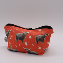 Load image into Gallery viewer, Highland Cow Make Up Bag, Coral