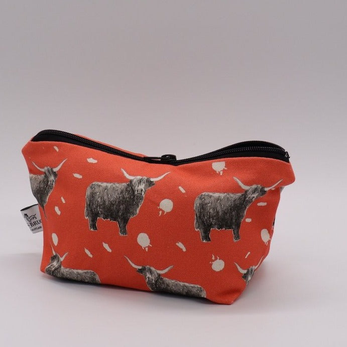 Highland Cow Make Up Bag, Coral