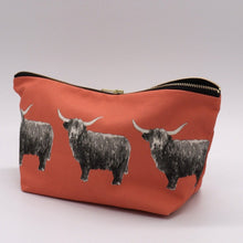Load image into Gallery viewer, Highland Cow Wash bag, coral