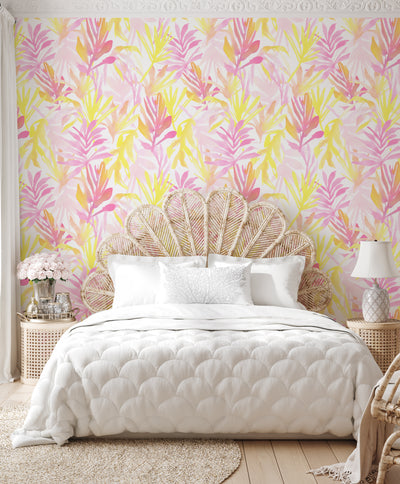 Sundrenched Palm in Pinks Wallpaper