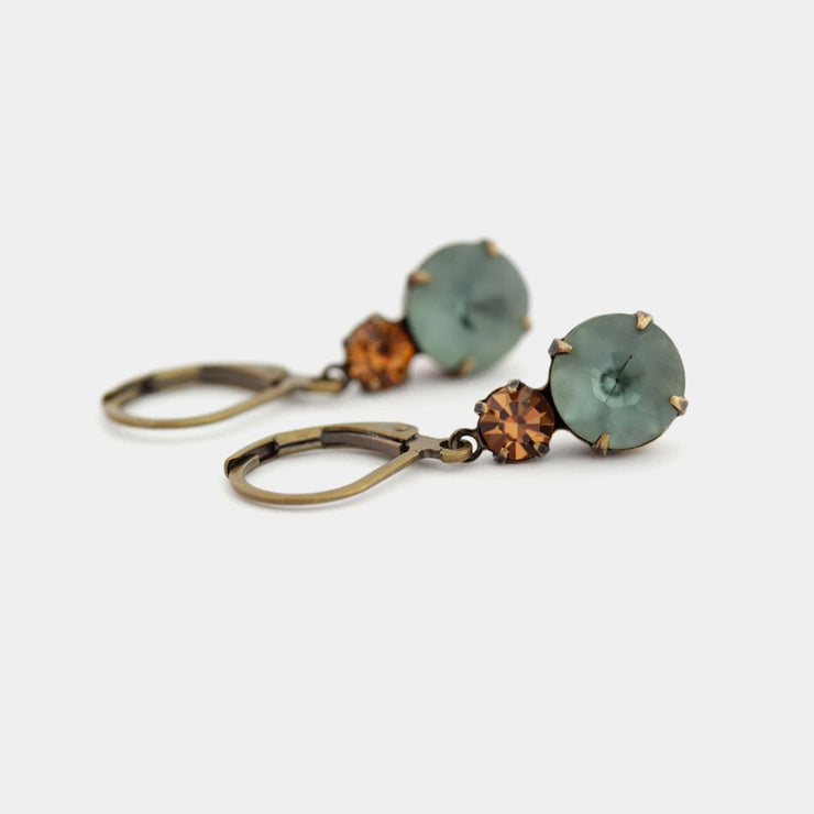 Vintage style earrings in smokey blue and topaz