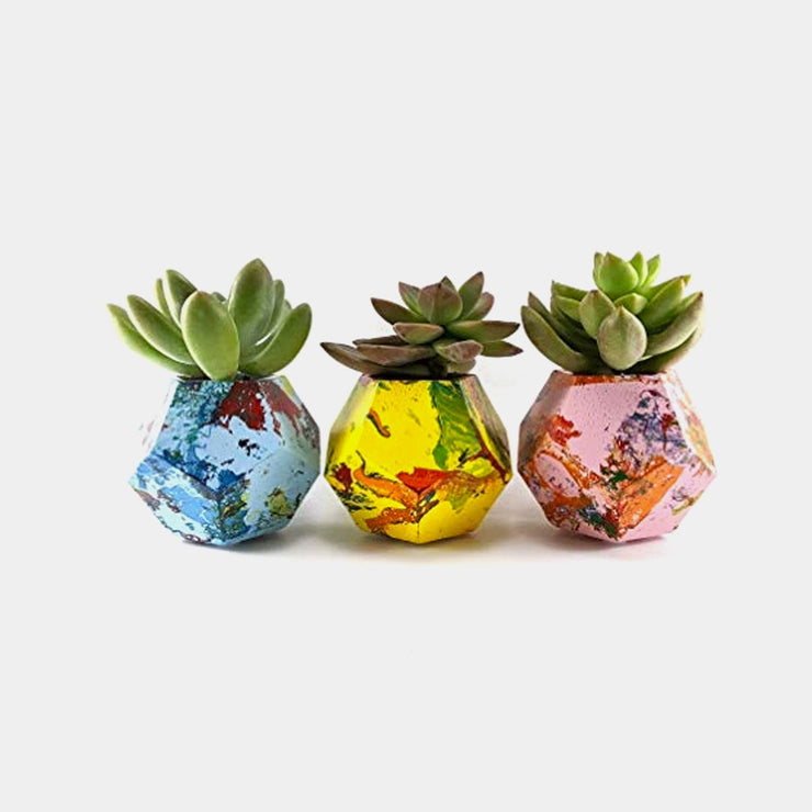 Geometric concrete succulent planter set of 3