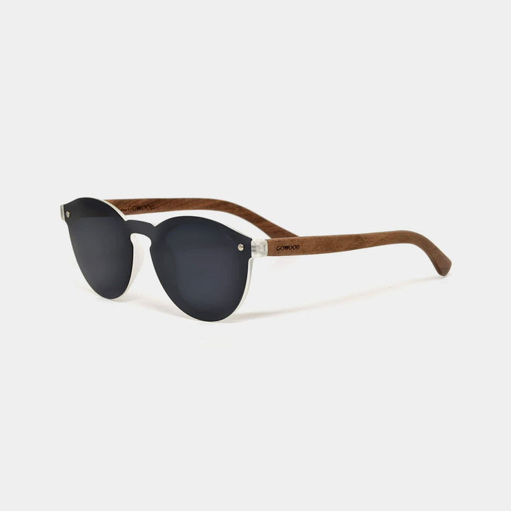 Round Walnut Wood Sunglasses