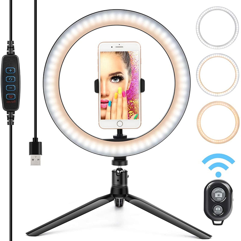 10'' Selfie Ring Light with mini Tripod Stand & Cell Phone Holder