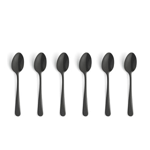 Amefa Austin Stainless Steel Mocca Spoon Set, 6-Pieces, Black