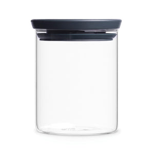 Brabantia Stackable Food Storage Glass Jar, 0.6 litre - Dark Grey