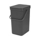 Brabantia 'Sort & Go' Waste Bin, 12 litre - Dark Grey