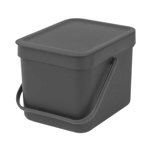 Brabantia 'Sort & Go' Waste Bin, 6 litre - Dark Grey