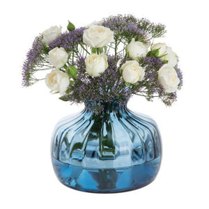 Dartington Crystal Cushion Ink Blue Medium Flower Vase