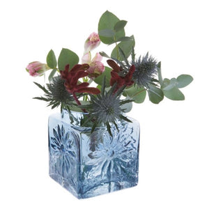 Dartington Crystal Marguerite Ink Blue Square Flower Vase
