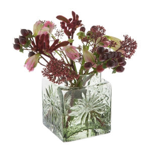 Dartington Crystal Marguerite Olive Green Square Flower Vase