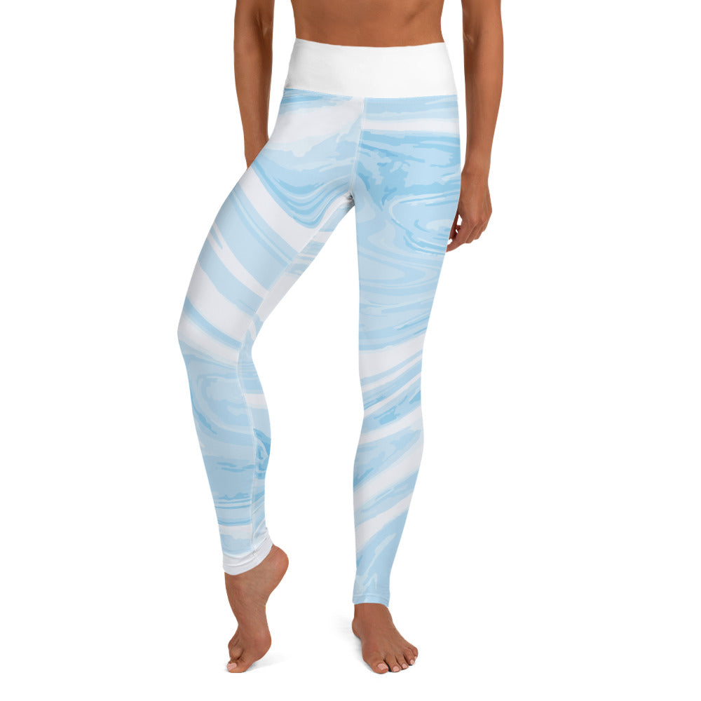 Larsa Marble Blue High-Waisted Leggings