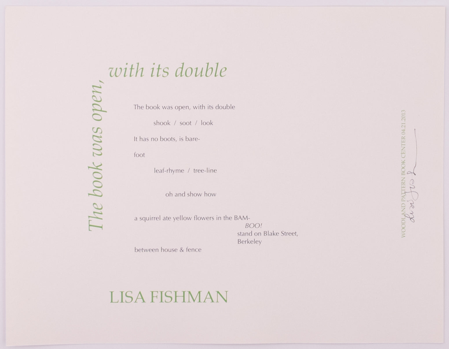 The Book Was Open, with Its Double by Lisa Fishman