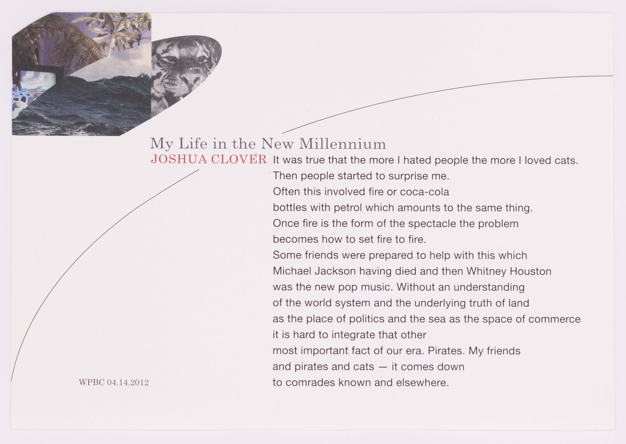 My Life in the New Millennium by Joshua Clover (Unsigned)
