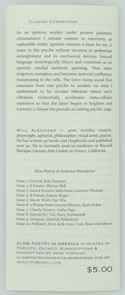 Slow Poetry in America | Issue #11/12: Will Alexander