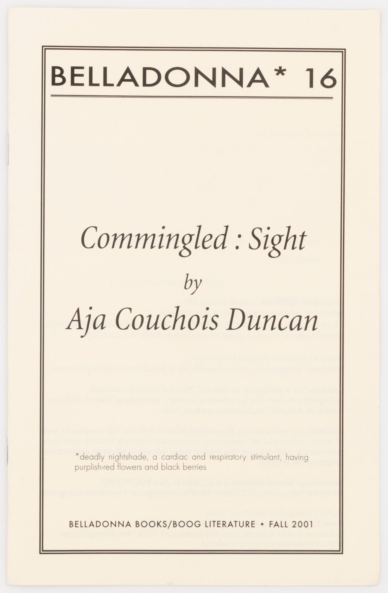 Commingled : Sight (Belladonna* #16)