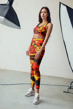 Load image into Gallery viewer, Orange Camo Sports Bra Leggings Set