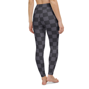 Gray Checkered Rash Guard Leggings Set