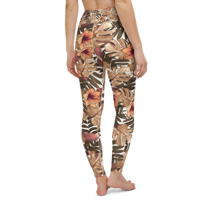 Orange Palm Leaf Rash Guard Leggings Set
