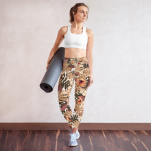 Load image into Gallery viewer, Orange Palm Leaf Rash Guard Leggings Set
