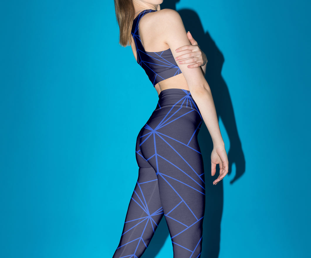 Blue Geometry Sports Bra Leggings Set