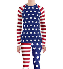 Load image into Gallery viewer, USA Flag 4th of July Rash Guard Leggings Set