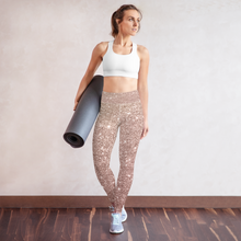 Load image into Gallery viewer, Rose Gold Printed Sports Bra Leggings Set