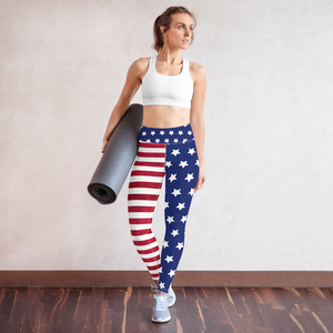 USA Flag 4th of July Rash Guard Leggings Set