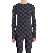 Load image into Gallery viewer, Gray Checkered Rash Guard Leggings Set