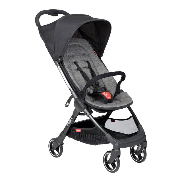 phil&teds go light and compact buggy in charcoal grey 3 qtr view_charcoal