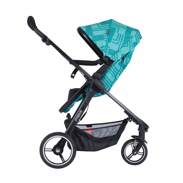 phil&teds mod stroller in capri colour with main seat in parent facing mode 3/4 view_capri